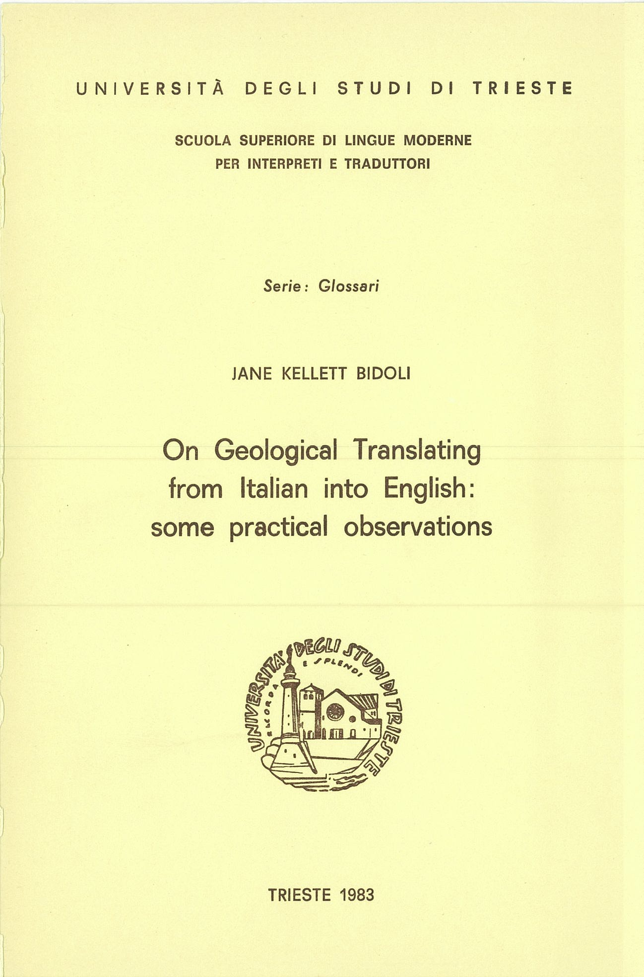 On Geological Translating from Italian to English: some practical observations